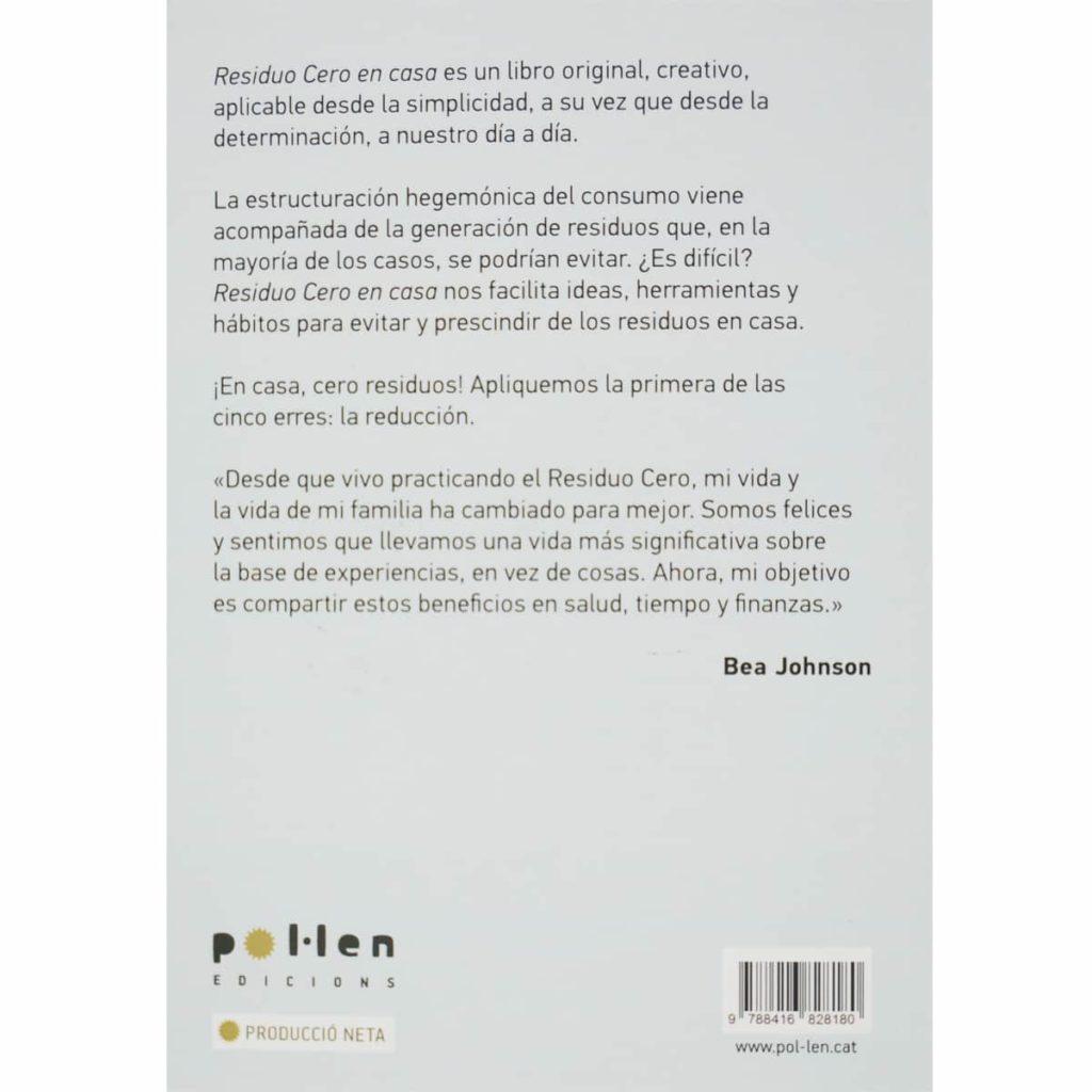 Libro Bea Johnson Residuo Cero en casa contraportada sinopsis