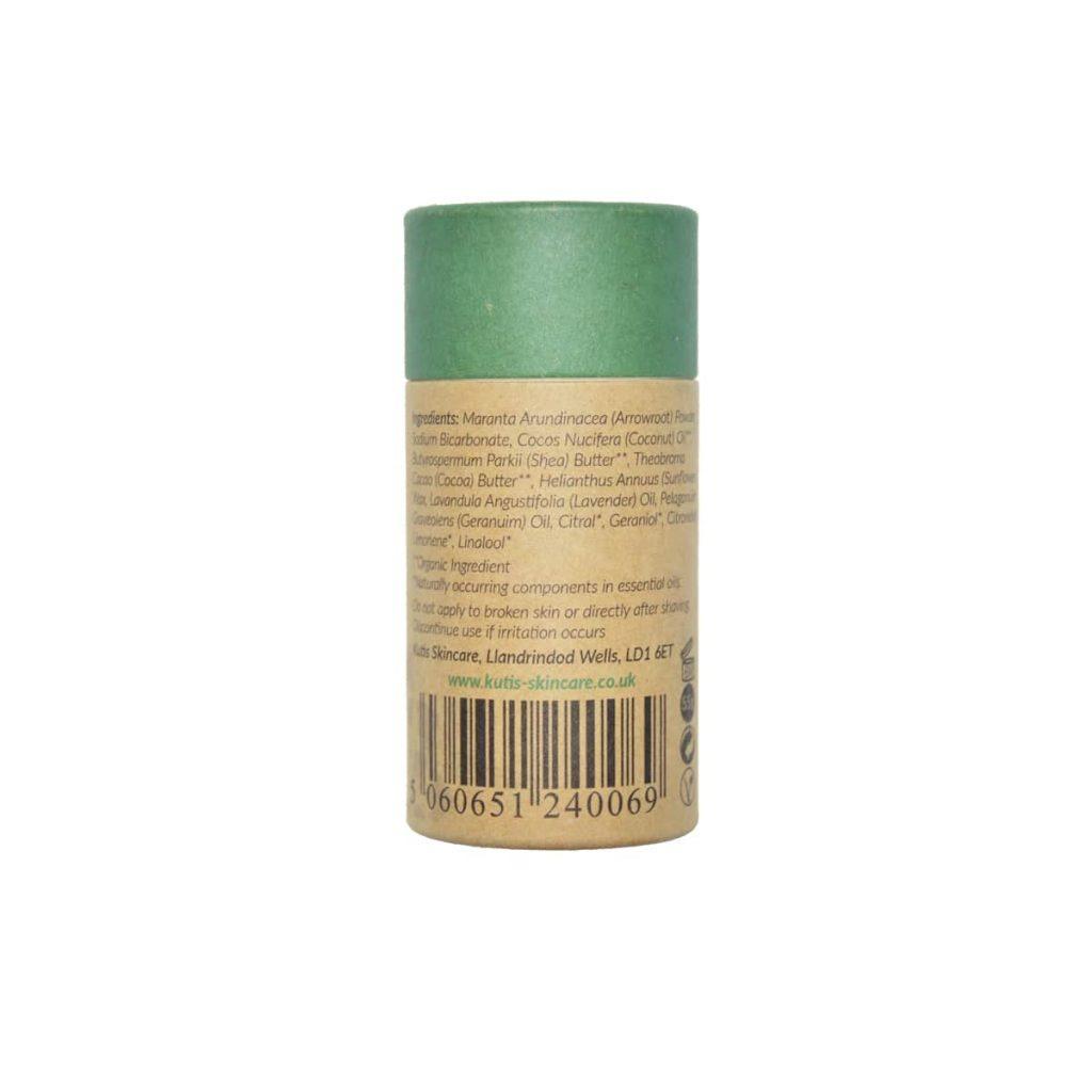 Desodorante vegano natural en barra de lavanda y geranio con bicarbonato