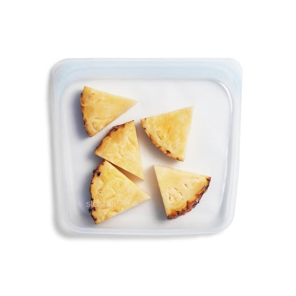 Bolsa de silicona alimentaria hermética transparente mediana