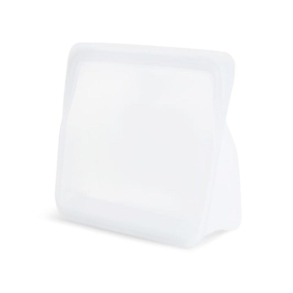 Bolsa de Silicona platino con base de pie Stasher Mediana transparente