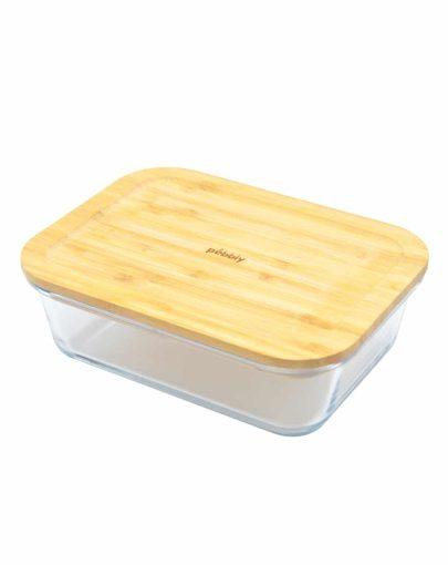 Recipiente para comida con tapa de bambú 1,5 L
